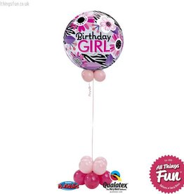 Birthday Pink Zebra Bubble