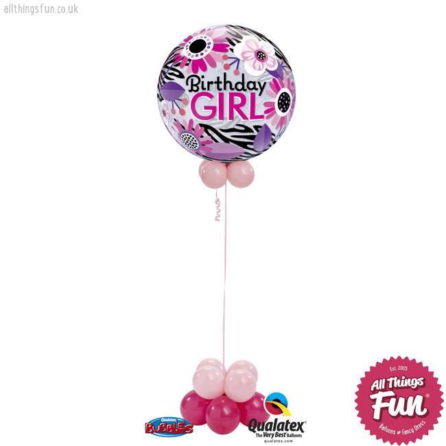 Birthday Pink Zebra Bubble
