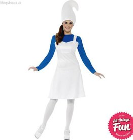 Smiffys *DISC* Female Blue & White Garden Gnome Costume