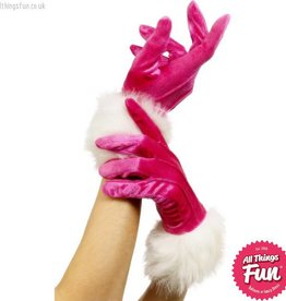Smiffys Pink Santa Gloves With Fur
