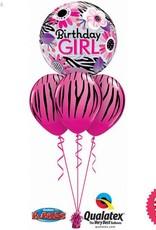 Birthday Pink Zebra Bubble Layer