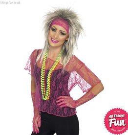 Smiffys Neon Pink Lace Net Vest Set