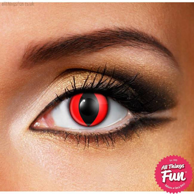 Funky Vision Red Cat Cosmetic Lens - 90 Day