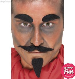 Smiffys Black Devil Facial Hair Set