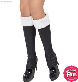 Smiffys Black Santa Boot Covers With White Fur Trim
