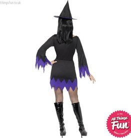 Smiffys *DISC* Black & Purple Witch Costume