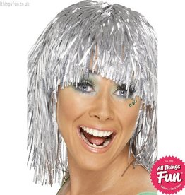 Smiffys Silver Cyber Tinsel Wig