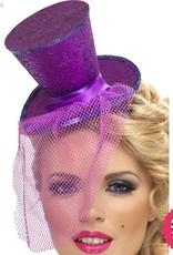 Smiffys *SP* Fever Purple Glitter Mini Top Hat on a Headband