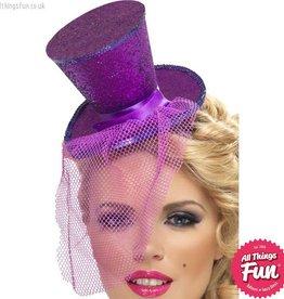 Smiffys Fever Purple Glitter Mini Top Hat on a Headband