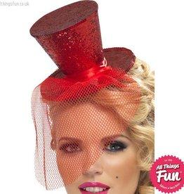 Smiffys Fever Red Glitter Mini Top Hat on a Headband