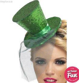 Smiffys Fever Green Glitter Mini Top Hat on a Headband