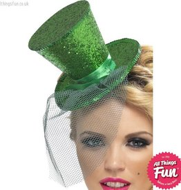 Smiffys *SP* Fever Green Glitter Mini Top Hat on a Headband