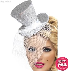 Smiffys Fever Silver Glitter Mini Top Hat on a Headband