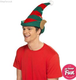 Smiffys Red & Green Striped Elf Hat with Ears