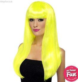 Smiffys Neon Yellow Babelicious Wig