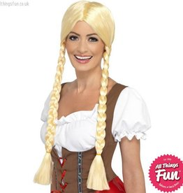 Smiffys Blonde Bavarian Beauty Wig with Plaits