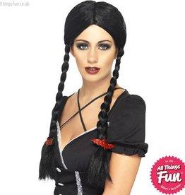 Smiffys Gothic Black Schoolgirl Wig