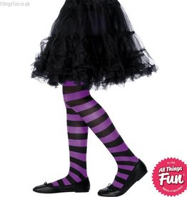 Smiffys Purple & Black Stripped Childrens Tights Age 6-12