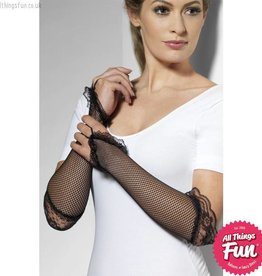 Smiffys Black Fingerless Fishnet Lace Gloves