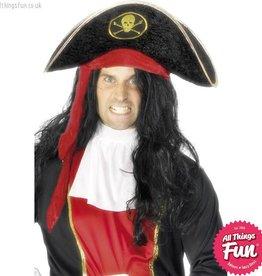 Smiffys Black Pirate Hat with Skull & Crossbones