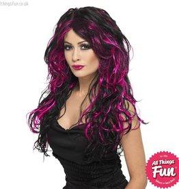 Smiffys Black & Pink Gothic Bride Wig