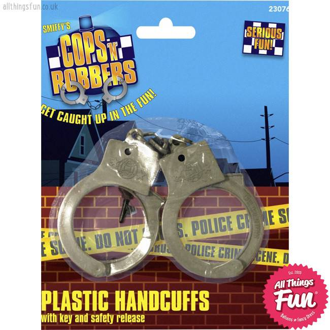 Smiffys Plastic Silver Handcuffs with Keys