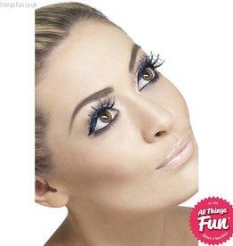 Smiffys *SP* Blue Glitter Spiderweb Eyelashes with Glue