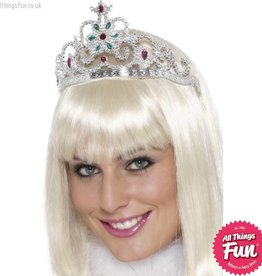 Smiffys Flower Jewelled Silver Tiara