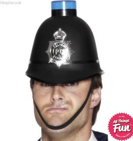 Smiffys Police Helmet with Flashing Siren Light