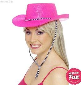 Smiffys Neon Pink Glitter Cowboy Hat