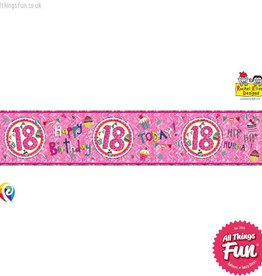 Pioneer Balloon Company Foil Banner - Age 18 Perfect Pink