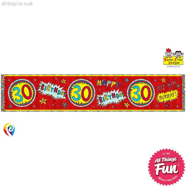 Pioneer Balloon Company Foil Banner - Age 30 Wow