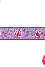 Pioneer Balloon Company Foil Banner - Age 40 Perfect Pink