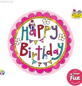Pioneer Balloon Company Fliter Badge - Happy Birthday Perfect Pink