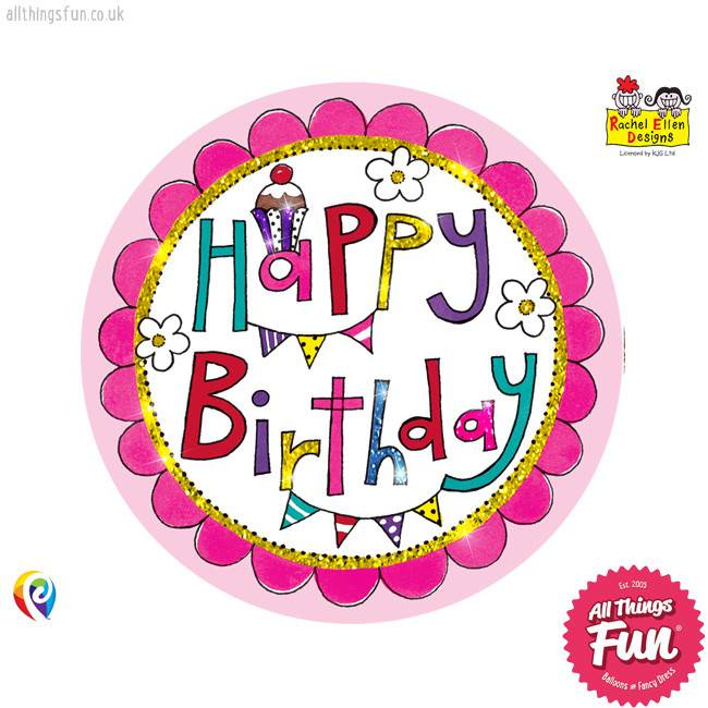 Pioneer Balloon Company Fliter Badge - Happy Birthday Perfect Pink
