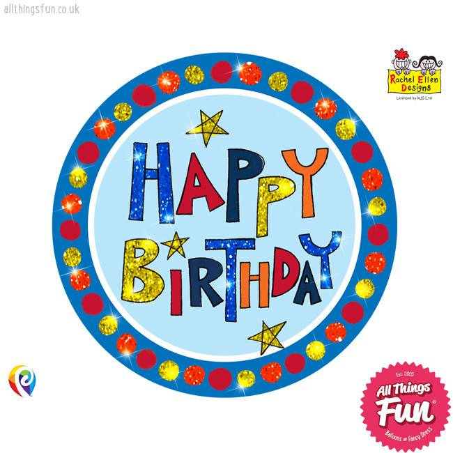Pioneer Balloon Company Fliter Badge - Happy Birthday Multi-Coloured
