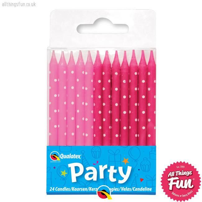 Pioneer Balloon Company Candles - Set Of 24 Pink Polka Dot