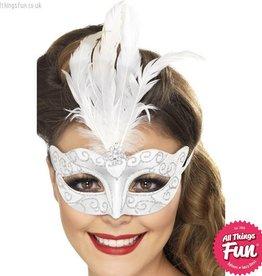 Smiffys Venetian Silver Glitter Eyemask with Feathers