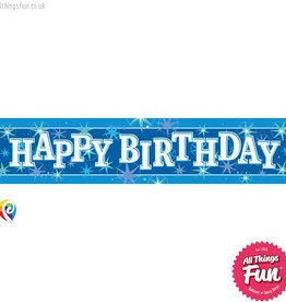 Pioneer Balloon Company Foil Banner - Happy Birthday Blue Sparkle