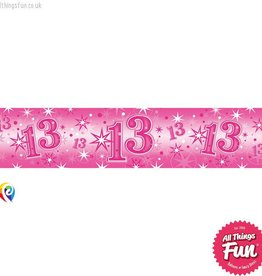 Pioneer Balloon Company Foil Banner - Age 13 Pink Sparkle