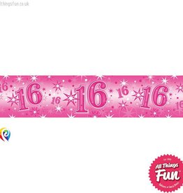 Pioneer Balloon Company Foil Banner - Age 16 Pink Sparkle