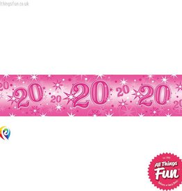 Pioneer Balloon Company Foil Banner - Age 20 Pink Sparkle