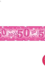 Pioneer Balloon Company Foil Banner - Age 50 Pink Sparkle