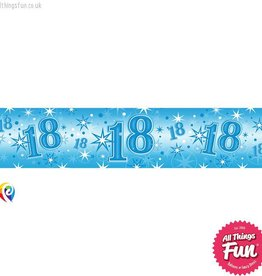 Pioneer Balloon Company Foil Banner - Age 18 Blue Sparkle