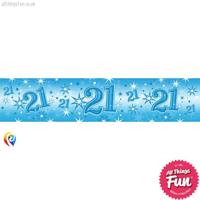 Pioneer Balloon Company Foil Banner - Age 21 Blue Sparkle