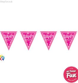 Pioneer Balloon Company Flag Banner - Happy Birthday Pink Sparkle