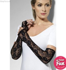 Smiffys Black Gothic Lace Long Fingerless Gloves