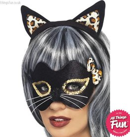 Smiffys Midnight Kitty Eye Mask & Ear Set