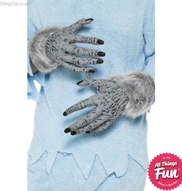 Smiffys Grey Werewolf Furry Hands