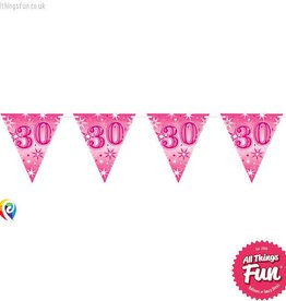Pioneer Balloon Company Flag Banner - Age 30 Pink Sparkle
